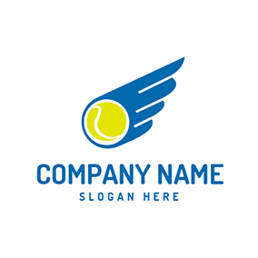 Blue Wing and Yellow Ball Icon logo design