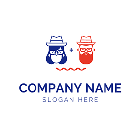 Blue Woman and Orange Man logo design