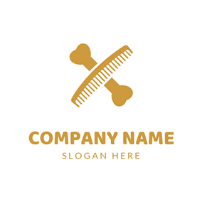 Bone Comb and Dog Grooming logo design