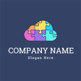 Brain and Colorful Puzzle logo design