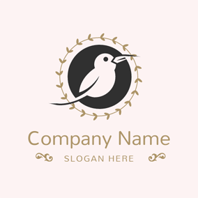 Branch and Encircled Bird logo design