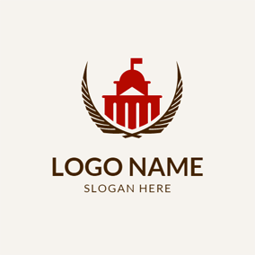 Branch and Red Government Building logo design