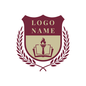 Branch Encircled Book and Torch Shield logo design