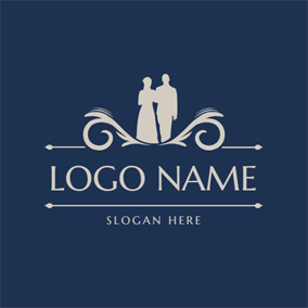 Bride and Bridegroom Portrait logo design