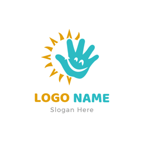 Bright Sun and Blue Smiling Hand logo design