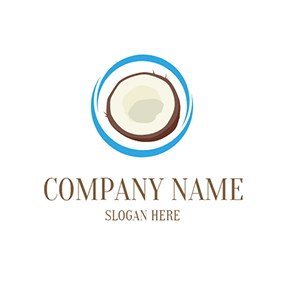Brown and Beige Coconut logo design