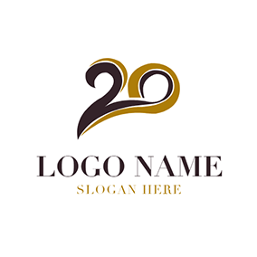 Free anniversary logo designs designevo logo maker brown and black 20th anniversary logo design altavistaventures Image collections
