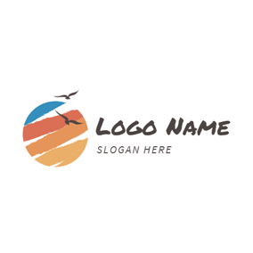 Brown and Blue Beach logo design