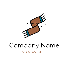 Brown and Blue Woolen Scarf logo design
