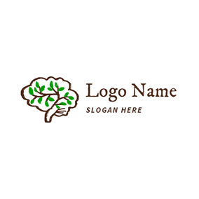 Brown and Green Brain logo design