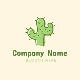 Brown and Green Cactus logo design