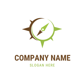 Brown and Green Compass logo design
