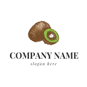 Brown and Green Kiwi Icon logo design