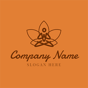 Brown and Orange Lotus logo design