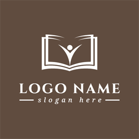 Brown And White Book Logo Design