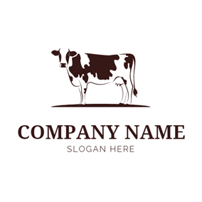 Brown and White Cow logo design