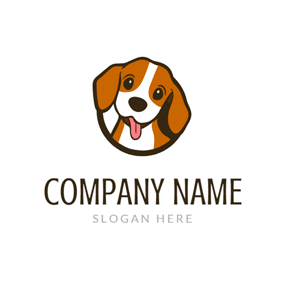 Brown and White Dog logo design