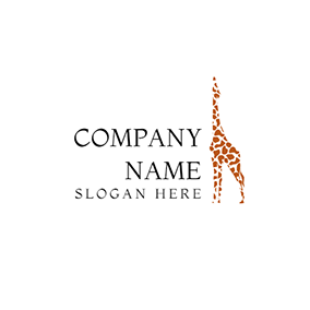 Brown and White Giraffe Icon logo design
