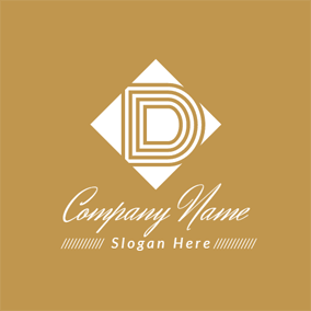 Brown and White Letter D logo design