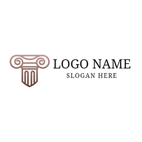 Brown and White Marble Pillar logo design