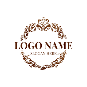 Brown and White Small Bell logo design