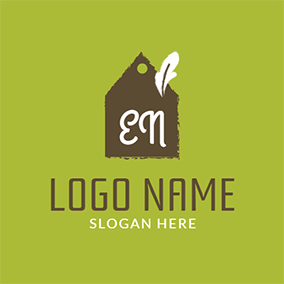 Brown and White Sticky Note logo design