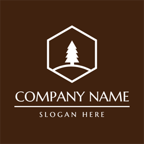 Brown and White Straight Tree logo design