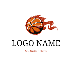 Brown and Yellow Basketball Icon logo design