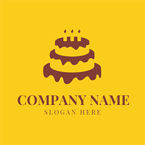 Brown and Yellow Birthday Cake logo design