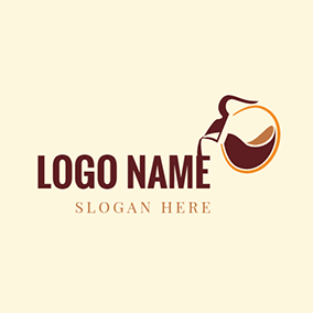 Brown and Yellow Coffeepot logo design