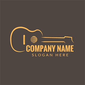 Brown and Yellow Guitar logo design