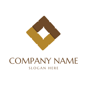 Brown and Yellow Tile Icon logo design