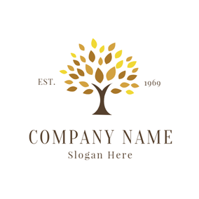 Brown and Yellow Tree logo design
