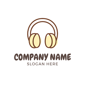 Brown and Yellow Wireless Headset logo design