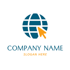 Brown Arrow and Blue Earth logo design