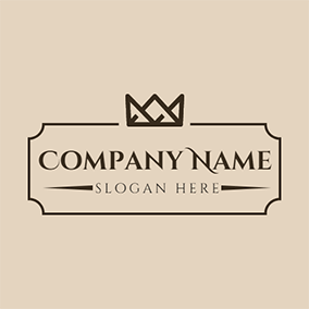 Brown Badge and Abstract Crown logo design
