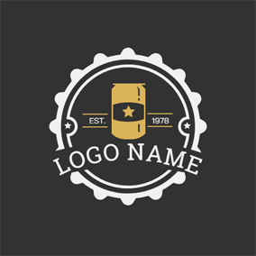 Brown Badge and Beer Can logo design