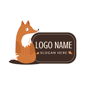 Brown Badge and Cartoon Squirrel logo design