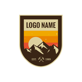 Brown Badge and Mountain logo design