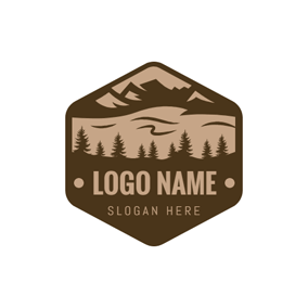 Brown Badge and Park Icon logo design