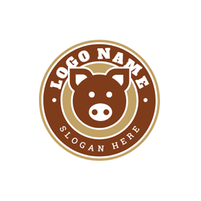 Brown Badge and Pig Head logo design