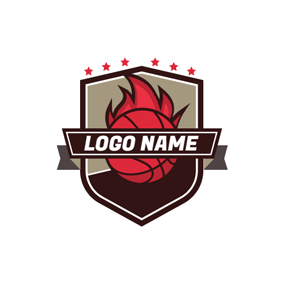 Brown Badge and Red Basketball Fire logo design