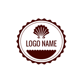 Brown Badge and Shell logo design
