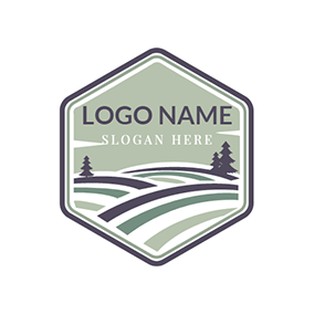 Brown Badge and Tree logo design