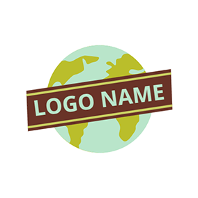 Brown Banner and Green Globe logo design
