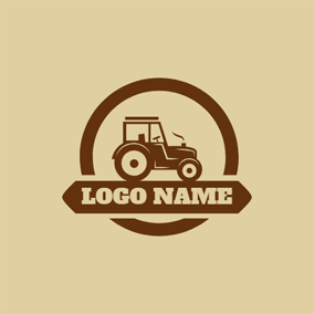 Brown Banner and Tractor logo design