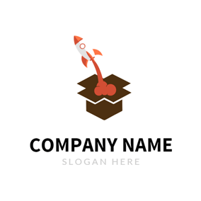 Brown Box and Red Rocket logo design