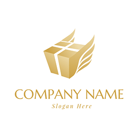 Brown Box and Wings logo design
