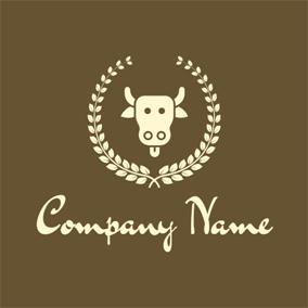Brown Branch and Cow logo design