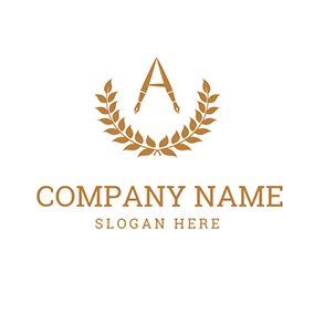 Brown Branch and Fountain Pen logo design